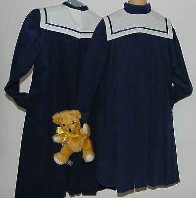 Laura Ashley vintage Edwardian sailor style navy cord girls dress, size 7-8 Yrs