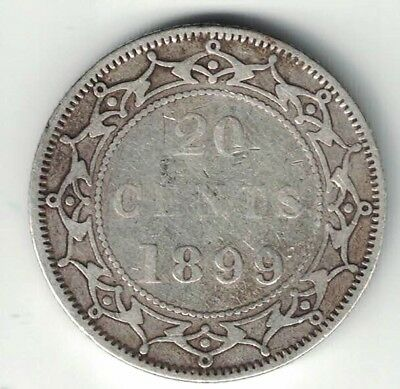 Newfoundland 1899 Lg 99 20 Cents Queen Victoria Sterling Silver Canadian Coin