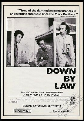 1986 Tom Waits John Lurie photo Down By Law movie release BIG vintage print ad