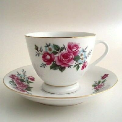 Pink Roses Porcelain Cup & Saucer Set Made in China