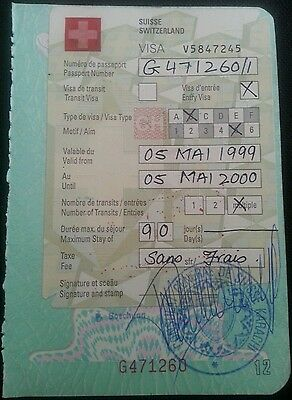 Pakistan Passport Page With Switzerland Visa 1999 L@@k!