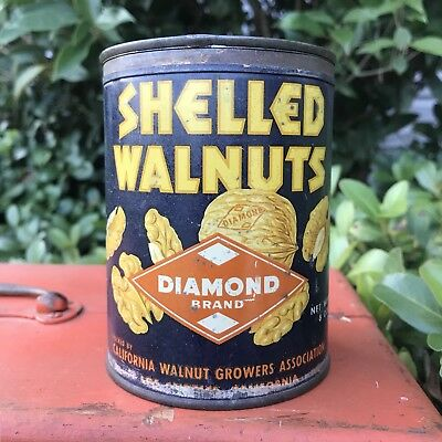 VHTF Vintage Old Diamond Shelled Walnuts Tin California Walnut Growers Assoc.