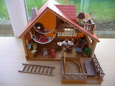 Sylvanian Families Log Cabin, New & Furnished With 5 Bear Figures, No Box