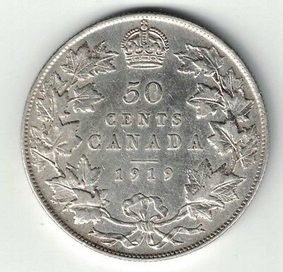 Canada 1919 50 Cents Half Dollar King George V Sterling Silver Canadian Coin