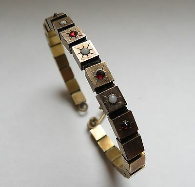 Wonderful ! Victorian square block slide bangle bracelet seed pearls in brass