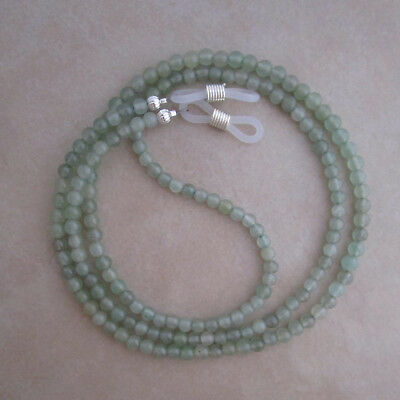 Handcrafted green aventurine reading eyeglass chain holder lanyard silver ends