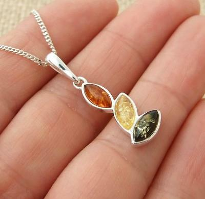 Multi Baltic Amber 925 Sterling Silver Pendant Necklace