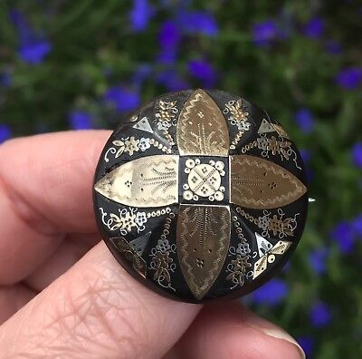 Antique Victorian Gold +Silver Inlaid Pique Ware Faceted Dome Brooch/pin