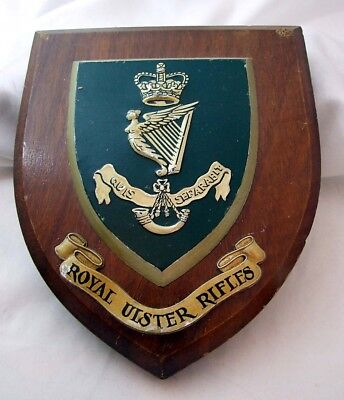 Vintage Royal Ulster Rifles Wooden Plaque - Made in Great Britain
