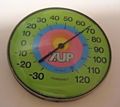 "Vintage Working 7Up Soda Pop Advertising 12"" Thermometer ~ Estate Buy Out Find ~"