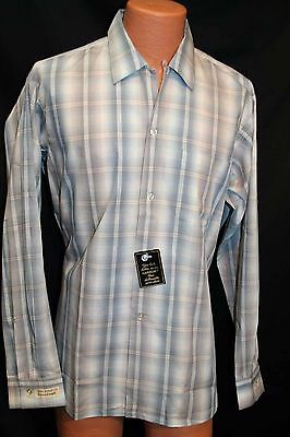 L 35 Blu Shadow Plaid NOS Sanforized Vtg 50s 60s Arrow Rockabilly Loop Men Shirt