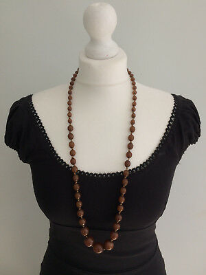 Antique Art Nouveau Deco Galalith French Bakelite Beads Hand Knotted Necklace
