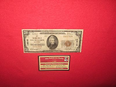 1929 $20 National Currency: City Nat'l Bank S.F. California S/N C001792A