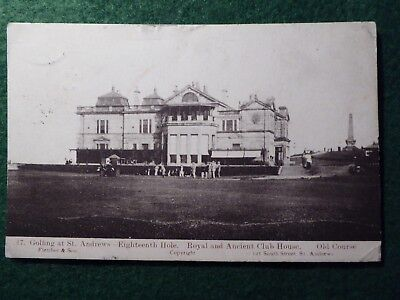 St Andrews Golf. Old Tom Morris and R & A Clubhouse. Fletcher & Sons no 17.1909.