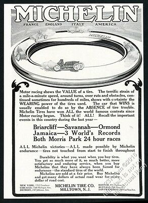 1908 Michelin tires racing race car art vintage print ad