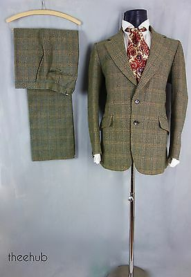 Vtg 70s True Country  Guards Thornproof Prince Wales Check Wool 2 Piece Suit