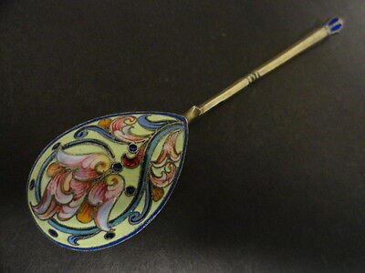 Antique Russian silver 84 cloisonne shaded enamel spoon, length is 5.25 inches