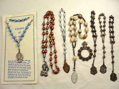 8 Chaplet Rosary Lot Seed Wood Opaque Blue Glass Finger Ring St. Ann Anthony++