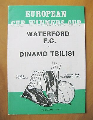 WATERFORD v DINAMO TBILISI ECWC 1980/1981 Excellent Condition Football Programme