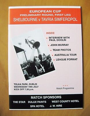 SHELBOURNE v TAVRIA SIMFEROPOL European Cup 1992/1993 *Exc Condition Programme*