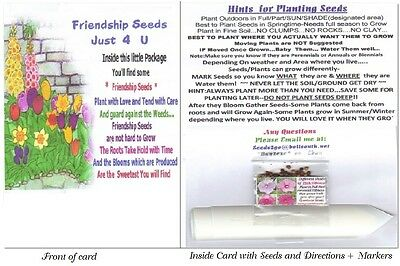 Made Especially 4 U *FRIENDSHIP Seed Card* Seeds + Plant Markers + Instructions