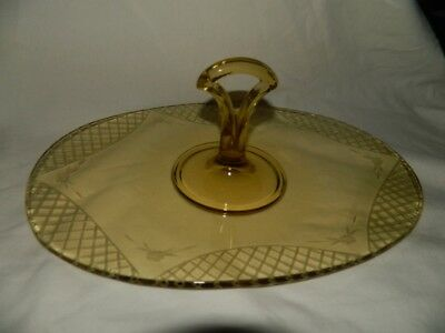 Paden City 700 Gypsy Amber Oval Center Handle Sandiwch Tidbit Tray Free Ship