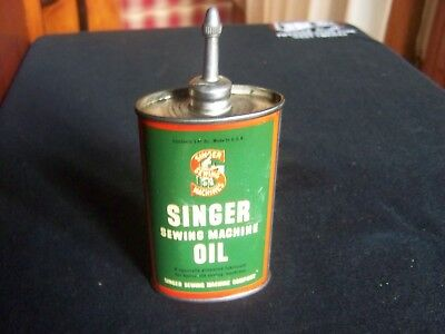 Vintage,Singer Sewing Machine Oil Can,Lead Top Handy Oiler,3 Oz. Size,Minty Tin
