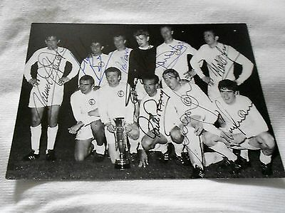LEEDS UNITED 6x4 POSTCARD 68 FAIR CUP FINAL SIGNED 9 MADELEY/SPRAKE//CHARLTON