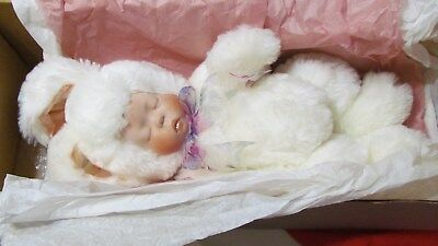 "Lee Middleton Bye Baby Bunting Bunny Rabbit Doll 17"" Porcelain Face NIB w/Tags"