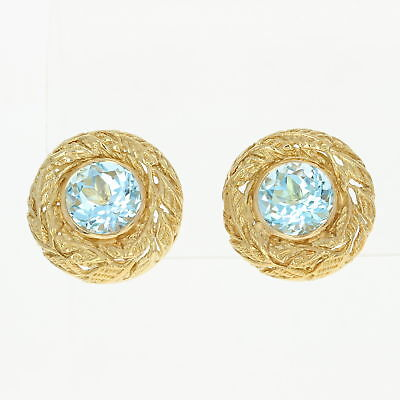 Vintage Julius Cohen Blue Topaz Earrings - 18k Gold Non-Pierced Clip-Ons w/ Box