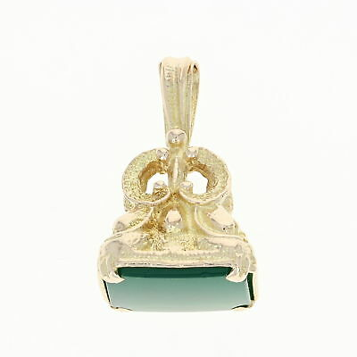 Vintage Fob Pendant - 9k Yellow Gold Green Chalcedony Textured
