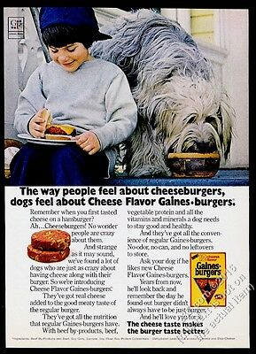 1972 Old English Sheepdog photo Gaines Burgers dog food vintage print ad
