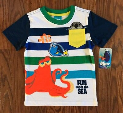 Disney Finding Dory Toddler Boys Striped T-Shirt -Fun Under The Sea- Size 3T New