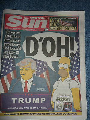 Trump D'oh The Sun Scottish Newspaper Simpsons Prophecy New 10Th November