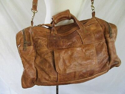 """DISTRESSED LEATHER tan patchwork soft duffle weekender bag 21"""""""