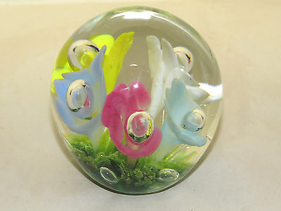 Bob & Maude St,Clair Art Glass Paperweight 1983,Controlled Bubble,Colored Flower