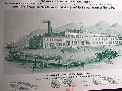 Oriental Hong Kong  Beer Ad 1908 Brewery Architect Chicago Minnesota Ohio