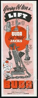 1945 Buda oil well field jack 5 models photo vintage print ad