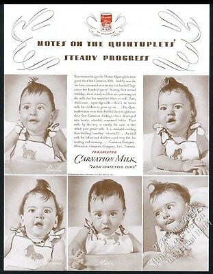 1936 Dionne Quints Quintuplets photo Carnation Milk vintage print ad