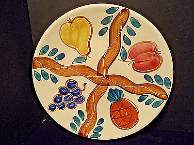 Purinton Pottery Fruit Pattern Chop Plate Platter 1940s 50s country kitchen vtg
