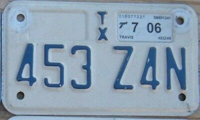 TEXAS 2006 Motorcycle License Plate  your choice