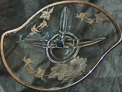 """Rockwell 12"""" X 9"""" Glass Sterling Silver Floral Nut Candy Serving Tray Dish Plate"""