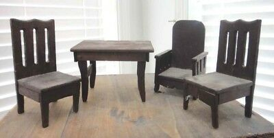 LOT vintage DOLL FURNITURE 3 CHAIRS + TABLE - MISSION