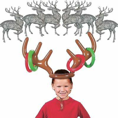 Inflatable Reindeer Antler Hat Ring Toss Toys Christmas Holiday Party Game Toys