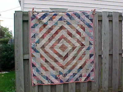 Early 20thc CHILDRENS Size QUILT with DIAMOND PATTERN 56 x 51
