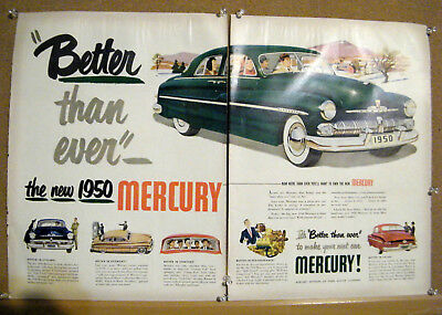 2 PAGE 1950 MERCURY CAR   print ad Circa 1940s  2 SEPERATE PAGES