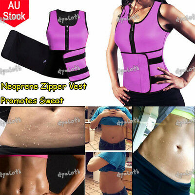 Hot Waist Trainer Women Ultra Sweat Neoprene Corset Slimming Zipper Vest AU