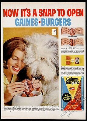 1965 Old English Sheepdog photo Gaines Burgers dog food vintage print ad