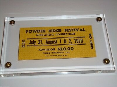 POWDER RIDGE 1970 ROCK FESTIVAL UNUSED CONCERT TICKET Janis Joplin Woodstock