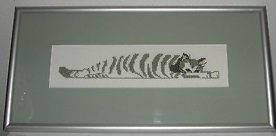 Cat Cross Stitch Matted and Framed 12 x 6 Stretched Out Striped Olive & Cream